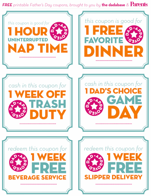 Free coupon ideas for dad