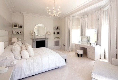 Elegant Powder White Bedroom Pictures