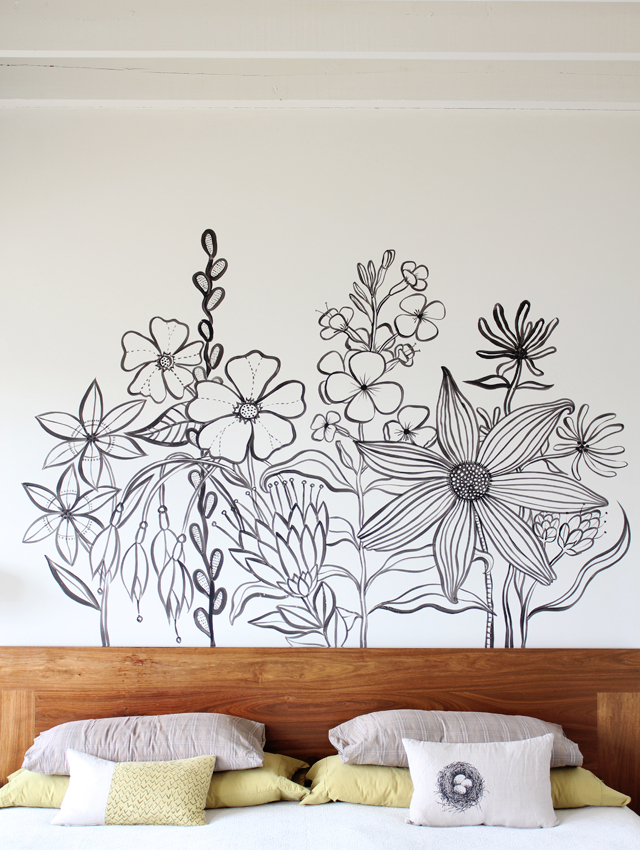 Flower mural pictures photos and images for facebook for Painted on headboard