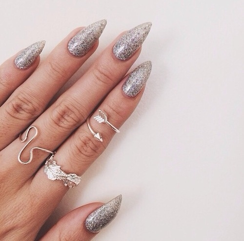 SIlver Glitter Stiletto Nails Pictures, Photos, and Images ...