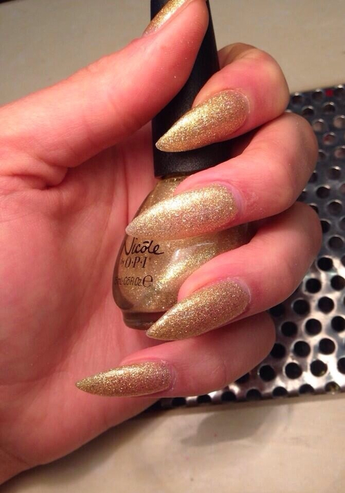 Gold Glitter Stiletto Nails Pictures, Photos, and Images for ...