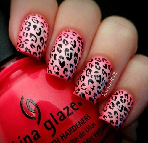 Red Leopard Print Nails Pink Leopard Pr...
