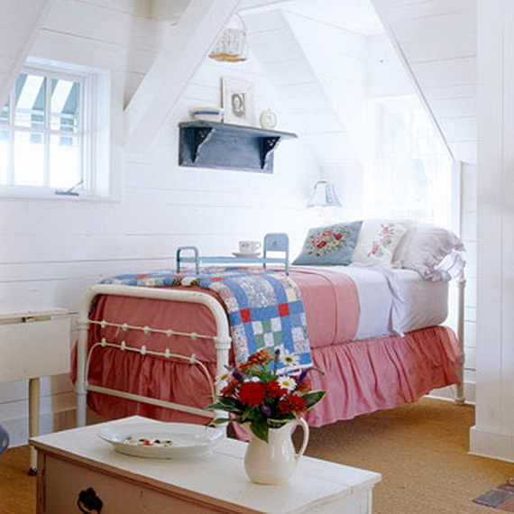 Cute Red, White & Blue Attic Bedroom