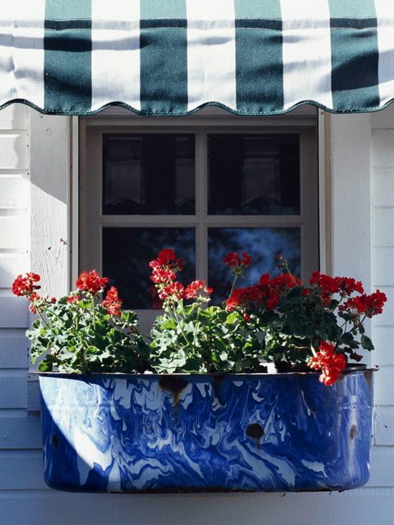 Blue Wash Tub Window Box