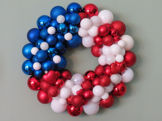Red, White  Blue Ball Wreath Pictures, Photos, and Images for