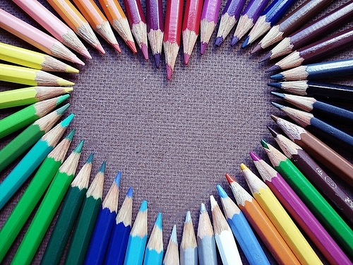 heart from colored pencils