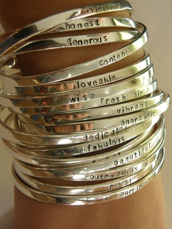 Silver Bracelets Inscribed With Inspiring Words