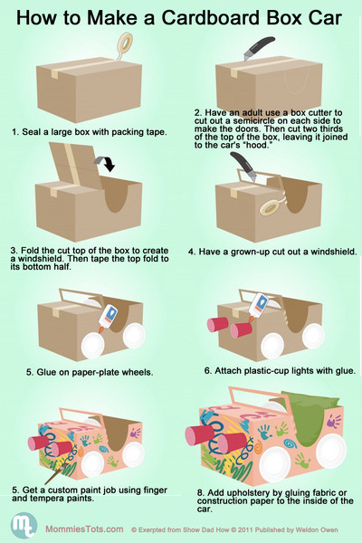 How to make a cardboard box car pictures photos and for How to build a house step by step instructions
