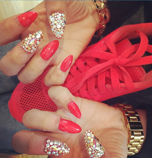 Red Stiletto Nails: Red Stiletto Rhinestone Nails Pictures, Photos, And Images