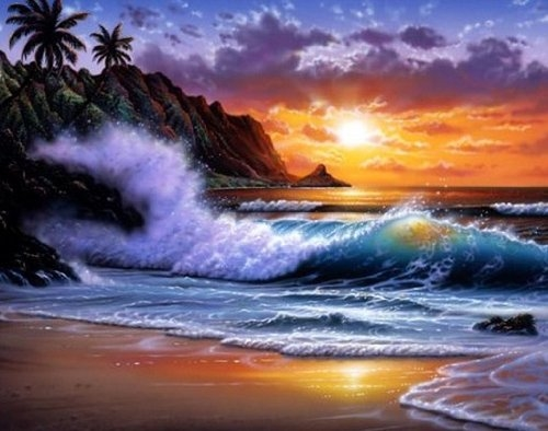 Waves Crashing On The Beach Painting Pictures Photos and