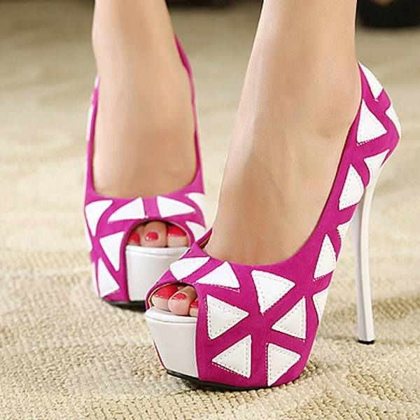 737915e4d52c Pink   White Open Toe High Heels Pictures