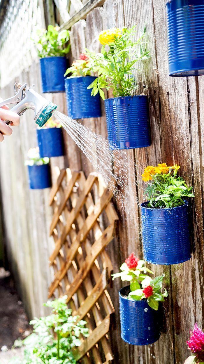 Tin can garden pictures photos and images for facebook - Macetas para jardin vertical ...