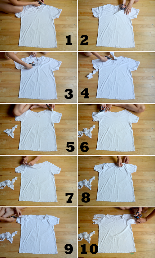 diy fringe sleeve t shirt pictures photos and images for facebook tumblr pinterest and twitter. Black Bedroom Furniture Sets. Home Design Ideas