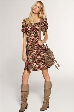 Fl Summer Dress With Boots