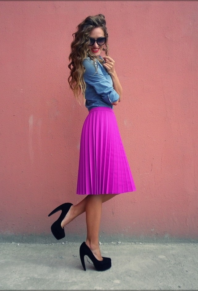 Bright Pink Pleated Skirt Pictures Photos And Images For