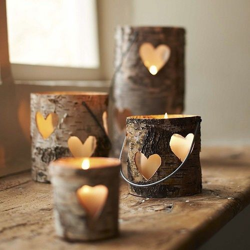 Carved Wooden Candle Holders