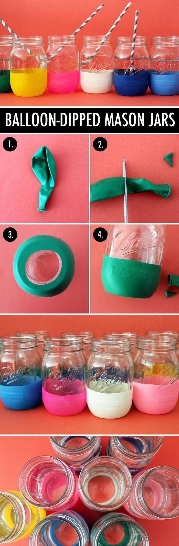 Diy projects with mason jars - Diy Balloon Dipped Mason Jars