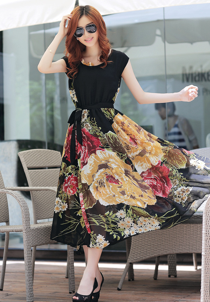 Summer Dress With Floral Skirt Pictures, Photos, and