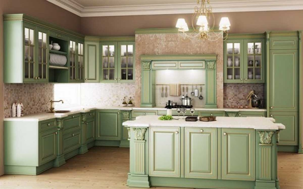 Beautiful sage green kitchen pictures photos and images for Green kitchen cabinets