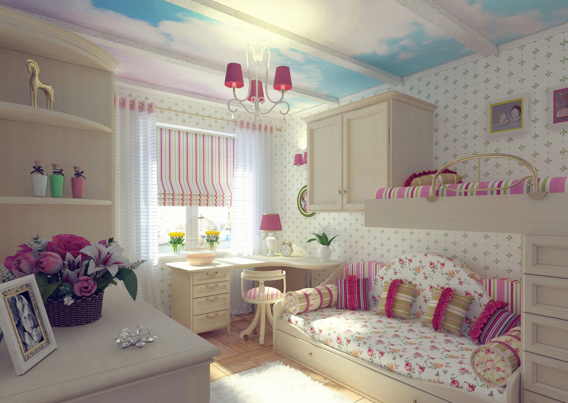 Pretty Pink Girls Bedroom