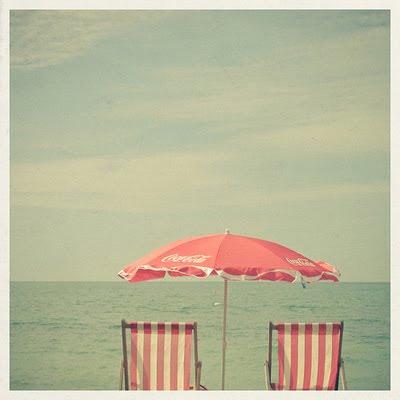 Pink Beach Chairs Umbrella