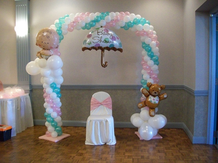 Baby shower balloon arch pictures photos and images for for Baby shower decoration ideas with balloons