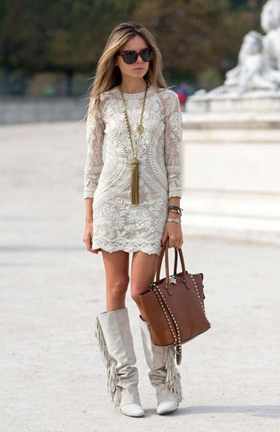White Lace Mini Dress With Fringe Boots Pictures Photos