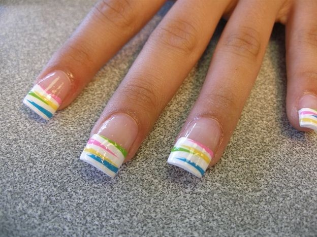 Rainbow Striped Nail Tips