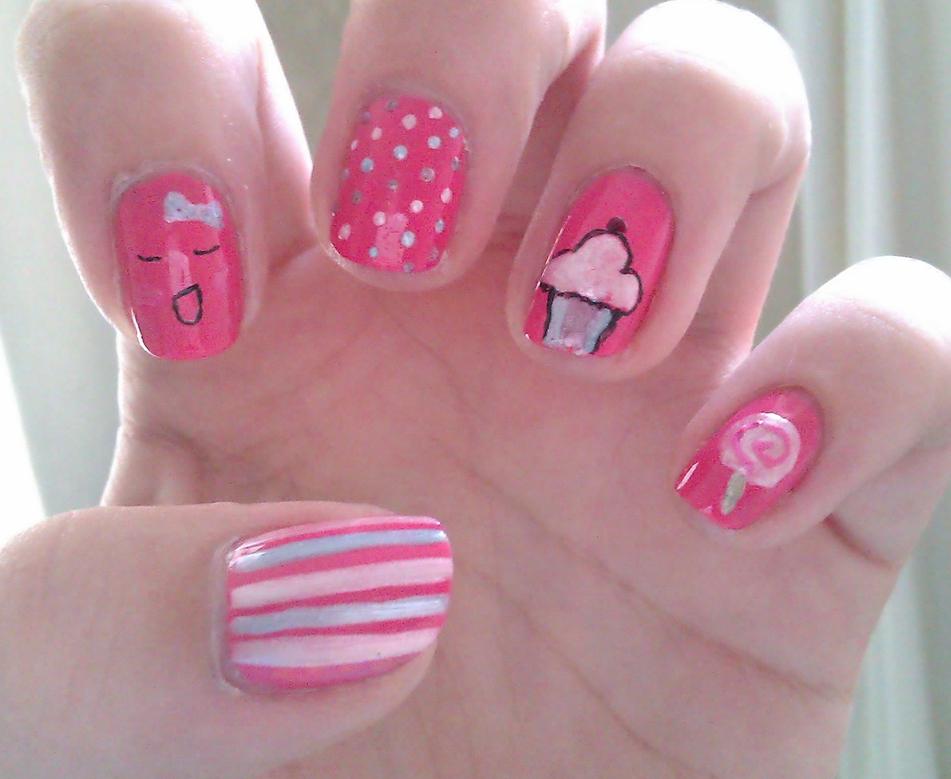 Hot Pink Kawaii Nails Pictures Photos And Images For Facebook