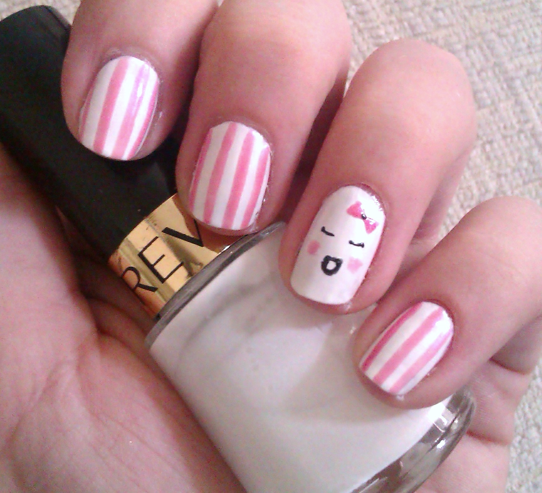 Candy Pink Kawaii & Stripes Nails Pictures, Photos, and Images for ...