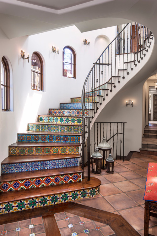 Spanish style staircase pictures photos and images for for Spanish style floor tiles