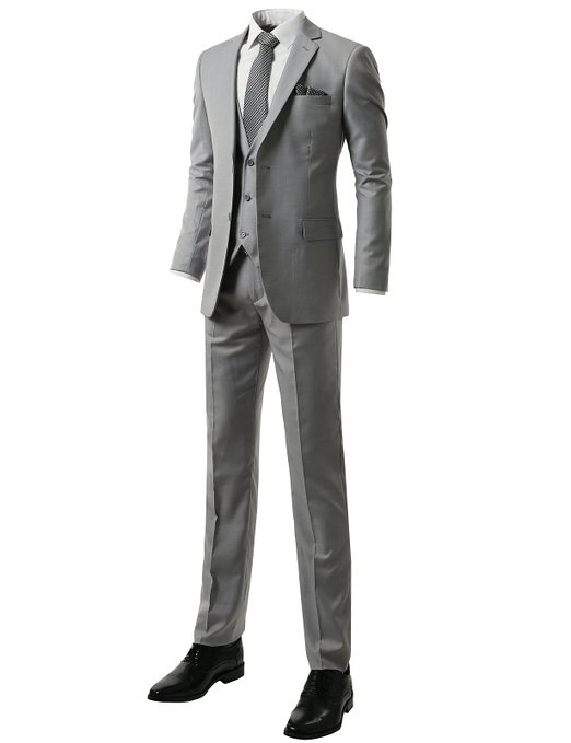 Mens premium modern fit 3 piece double vented gray vacation suit
