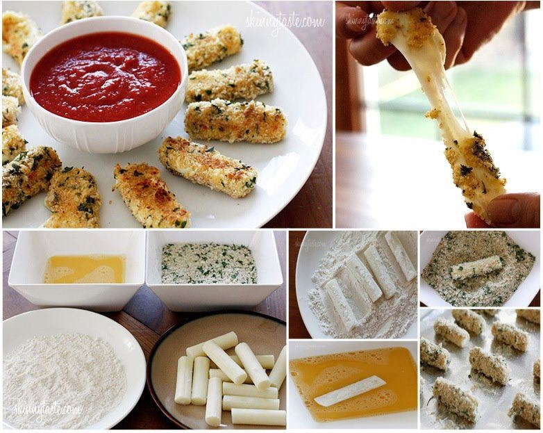 Skinny Baked Mozzarella Sticks Recipe Pictures, Photos, and Images for ...