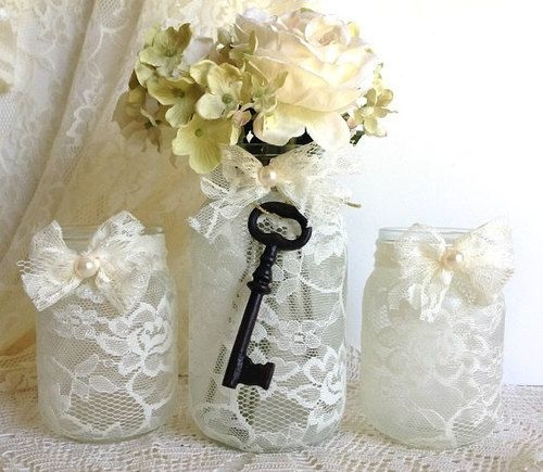Vintage Wedding Ideas Mason Jars: Lace Covered Mason Jars Pictures, Photos, And Images For