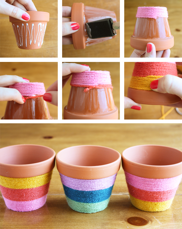 Diy yarn wrapped flower pots pictures photos and images for facebook tumblr pinterest and - Pretty diy flower pot ideas ...