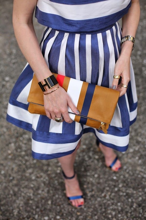 Blue and gold striped dress
