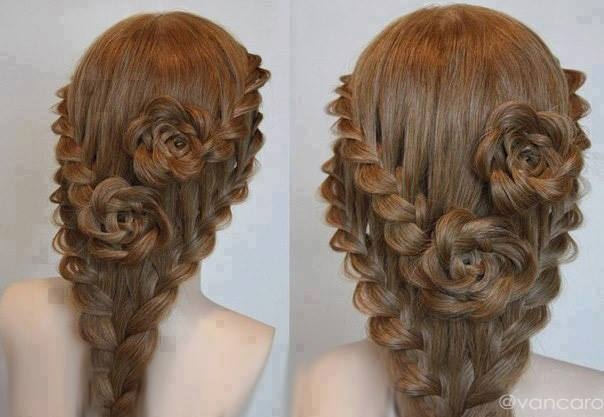Exceptional Lace Braid Rose Hairstyle For Long Hair