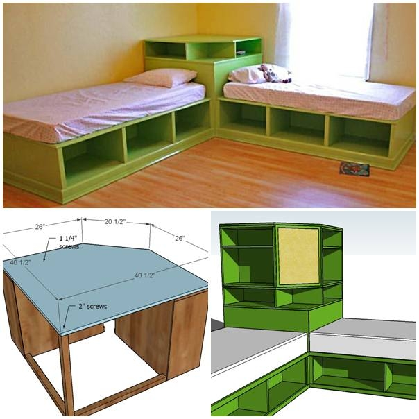 Diy twin corner bed with storage pictures photos and for Twin bed base with storage