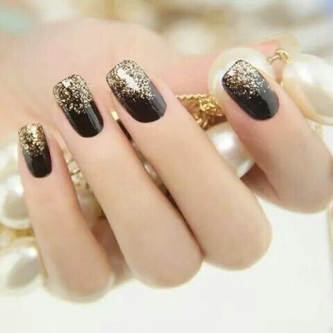 black nails with golden glitter pictures photos and