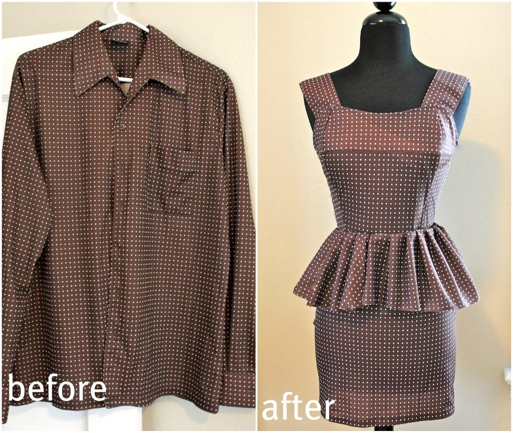 DIY Mens Shirt to Peplum Dress