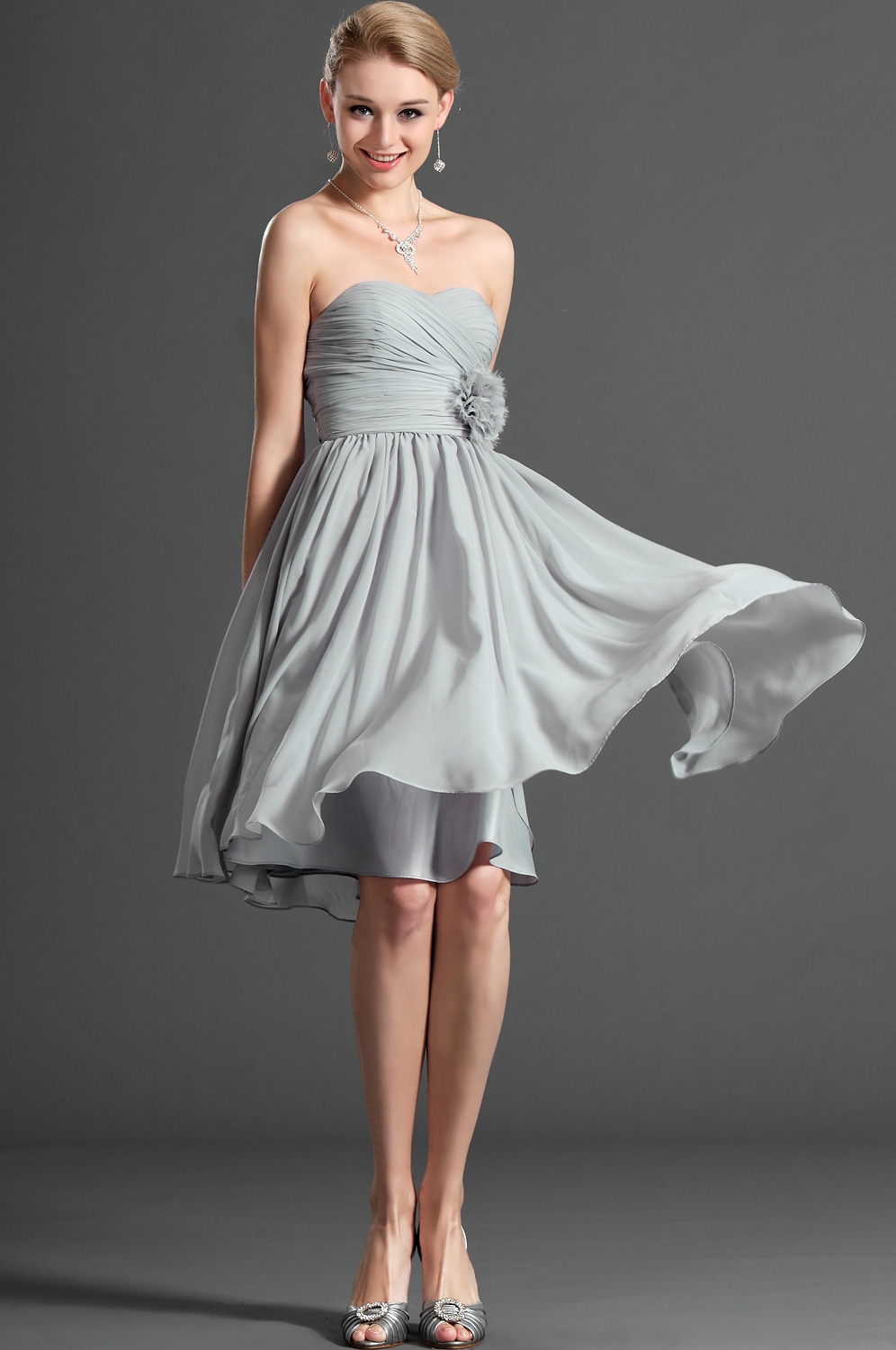 Silver Strapless Cocktail Dress Pictures Photos And