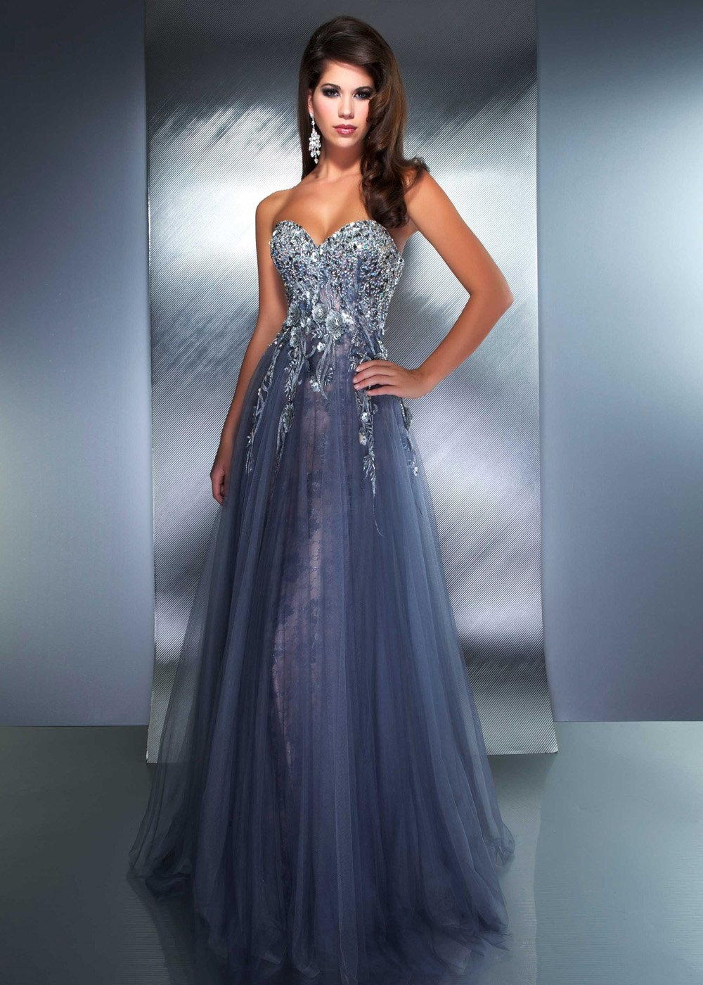 Stunning Strapless Blue Chiffon Gown Pictures, Photos, and Images ...