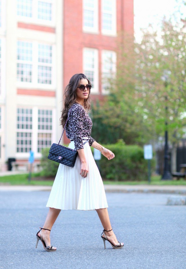 White Pleated Midi Skirt With Leopard Top Pictures Photos