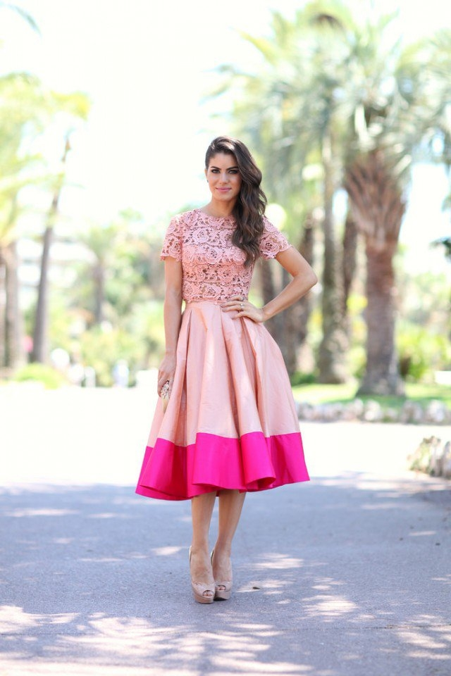 Pretty Pink Midi Skirt With Lace Top Pictures, Photos, and Images ...