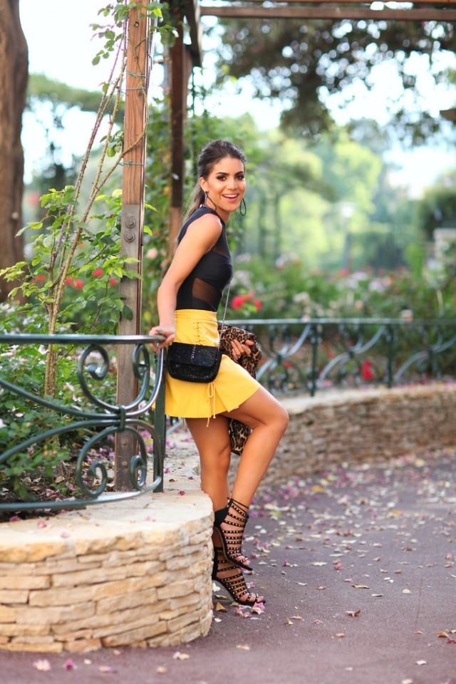 Yellow Mini Skirt With Black Accessories Pictures, Photos, and ...