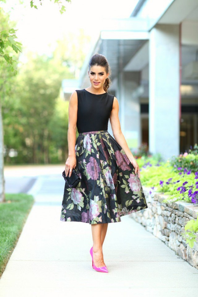 dressy floral midi skirt with pink high heels pictures