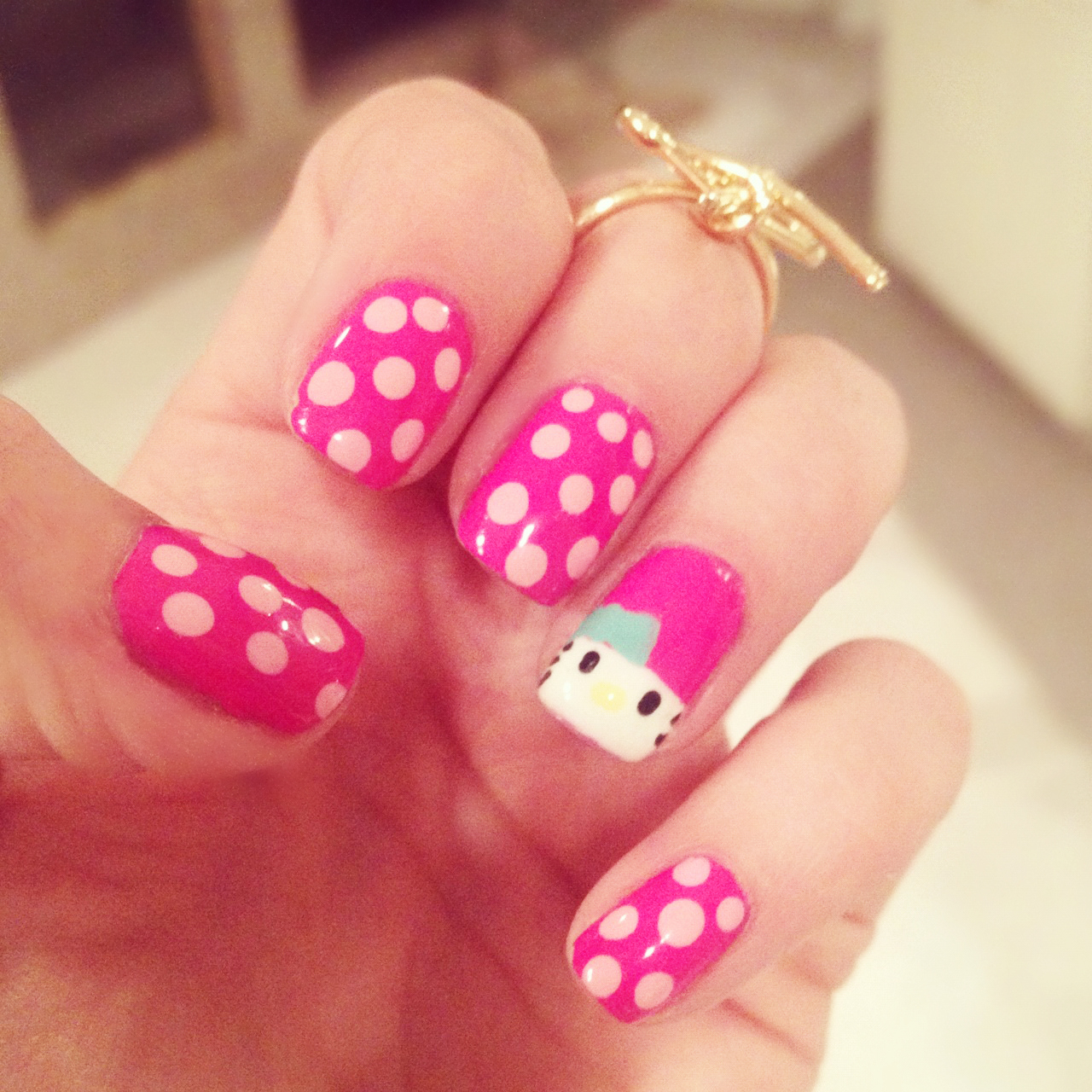 Hello wednesday pictures photos and images for facebook tumblr - Cute Hello Kitty Dots Nails