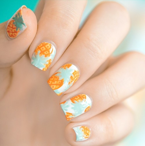 Pineapple Design Nails