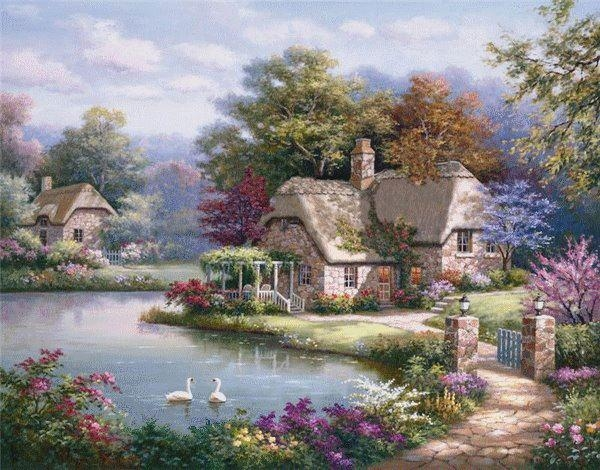 Beautiful Painting Of House On The Lake Pictures Photos