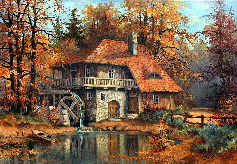 Painting of windmill house in the fall pictures photos for Home painting images